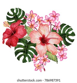 Watercolor composition of hibiscus, plumeria and tropical leaves, hand drawn floral illustration, bouquet with exotic flowers isolated on a white background.