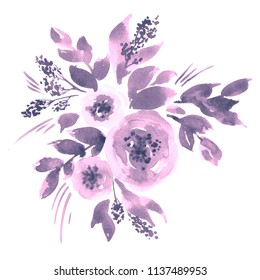 Watercolor composition with loose peony flowers. Hand painted floral arrangement in purple