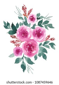 Watercolor composition with loose pink peony flowers and green teal leaves. Hand painted floral arrangement