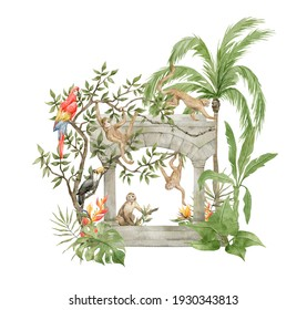 Watercolor composition with monkey, parrots, old jungle architecture, palm trees, flowers, leaves, plants. Eden garden, tropical paradise. Wild animals and greenery. Colorful tropical wildlife