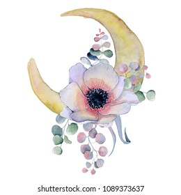Watercolor composition with moon and anemone flowers bouquet Hand drawn illustration