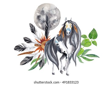 Watercolor composition with native american indian horse, moon and feathers amulet