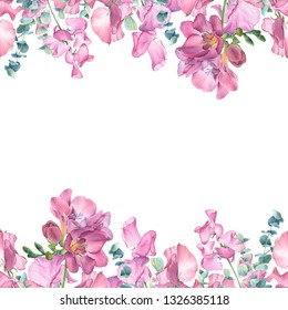 Watercolor composition of pink flowers  on white background.  Freesia, sweet peas, eucalyptus branches. Perfect for wedding invitations, greeting cards, blogs, posters and more.