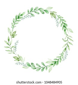 Watercolor composition with twigs on white background. Wreath, frame, border. Greeting card, poster, banner with space for text