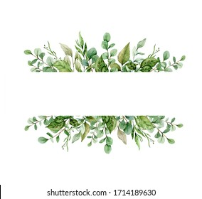 Watercolor composition with twigs on white background. Frame, border, wreath. Greeting card, poster, banner with space for text