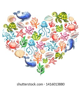 Watercolor compositions heart and  circle with underwater creatures: whale, turtle, crab, octopus, starfish, narwhal, jellyfish, seaweed, corals, shells for baby shower, shirt design, invitations