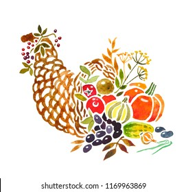 watercolor cornucopia full of vegetables, berries and fruits of autumn