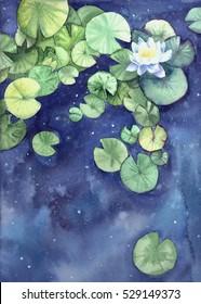 Watercolor cosmic water lilies