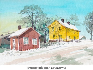 watercolor cottage countryside scene