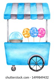 Watercolor cotton candy cart, trolley, truck. Illustration isolated on white background