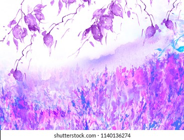 Watercolor country forest landscape. Autumn, summer forest pink, purple. Branches of birch, aspen, willow, bushes, wild plants and grass. Art illustration, abstract splash of paint.