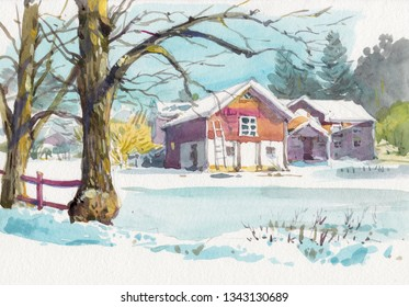 watercolor countryside painting