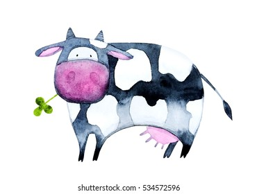 Watercolor cow eating grass. Cute, hand painted character for children's books or cards.