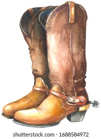 Watercolor cowboy boots.  Painting isolated on white background.