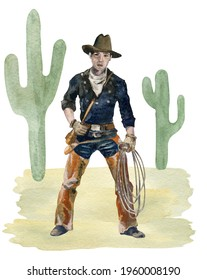 Watercolor Cowboy with lasso, hat, boots, cactus, Western Country