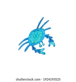 Watercolor crab decorated with white patterns. Blue and turquoise colors. Sea animal hand painted illustration on white background. Great for posters, mug decoration, scrapbooking.