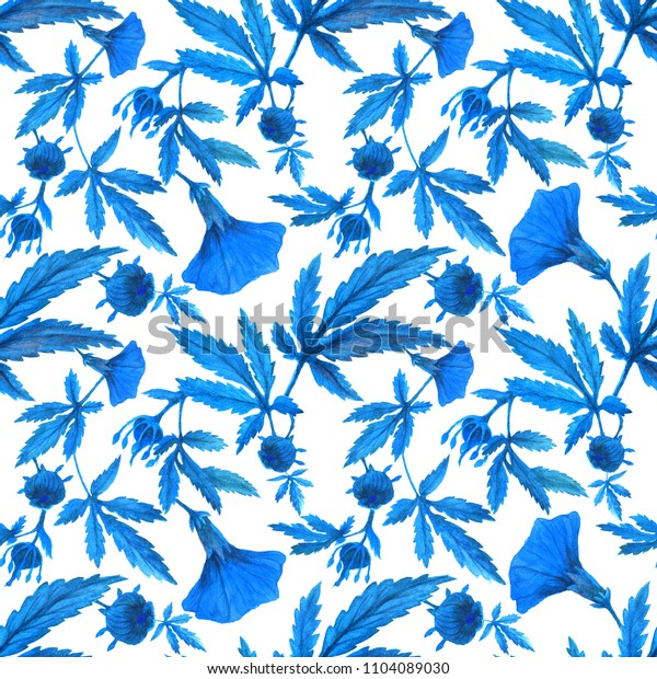 Watercolor cranberry hibiscus garden blue pattern. Flowers and buds on a branch.