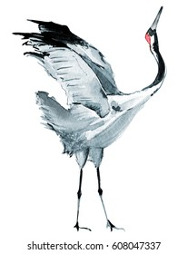 Watercolor Crane