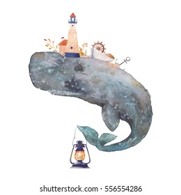 Watercolor creative cachalot poster. Hand painted fantasy blue sea whale with lighthouse,lantern,anchor, plants, wheel, old boat, stones isolated on white background. Vintage style nautical art.