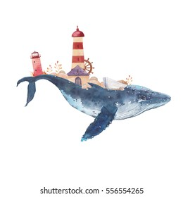 Watercolor creative whale poster. Hand painted fantasy blue sea whale with lighthouses, plants, wheel, old boat, stones isolated on white background. Vintage style nautical art work