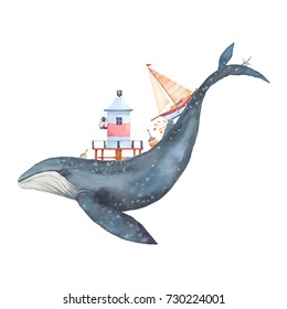 Watercolor creative whale poster. Hand painted fantasy blue whale with lighthouse, sailboat, plants, float, old boat, sea star, lantern isolated on white background. Vintage style nautical art