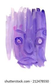 Watercolor creepy face