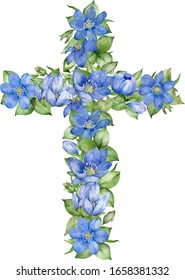 Watercolor cross with blue spring flowers isolated on white background. Watercolor Easter Cross element, Spring floral arrangement. Baptism Cross DIY Invitation.