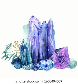 Watercolor crystal blue-violet set.Texture with leaves. Perfect for wedding,invitations,greeting cards,quotes,pattern,bouquet,logos,birth day cards