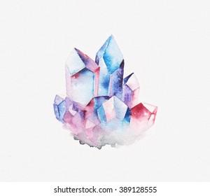 Watercolor crystal cluster