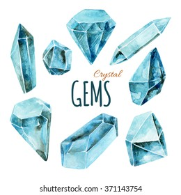 Watercolor crystal gems collection. Hand painted illustration with minerals isolated on white background for your design.