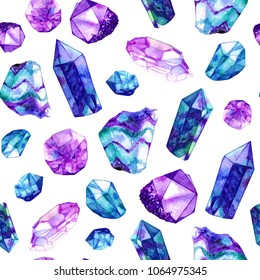 Watercolor crystal gems seamless pattern. Hand drawn illustration on white background.
