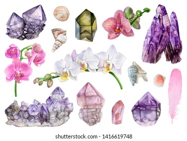 Watercolor crystals, flowers, seashells, feathers isolated on white background. Orchids, rose quartz, amethyst, smoky quartz.