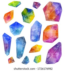 Watercolor Crystals - Hand drawn watercolor illustration of a set of colorful magical crystals in various sizes.