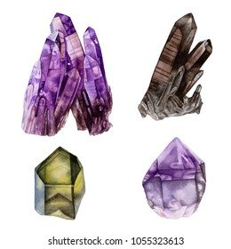 Watercolor crystals. Healing crystals. Amethyst crystals, crystal cluster, smoky quartz, black crystals, green crystal, purple crystal isolated on white background.
