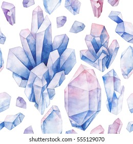 Watercolor crystals in pastel colors. Hand drawn seamless pattern