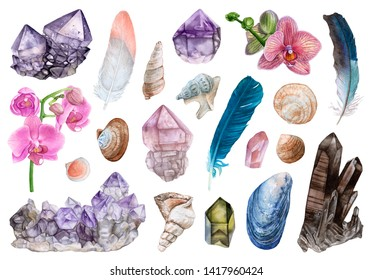 Watercolor crystals, seashells, flowers, feathers isolated on white background. Orchids, amethyst, rose quartz, smoky quartz, crystal cluster.