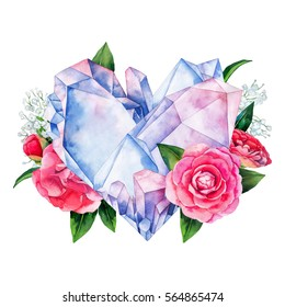 Watercolor crystals in the shape of heart with camellia decorations. Hand drawn Valentine day design in pastel colors isolated on white background