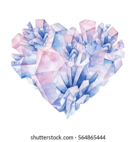 Watercolor crystals in the shape of heart. Hand drawn Valentine day design in pastel colors isolated on white background
