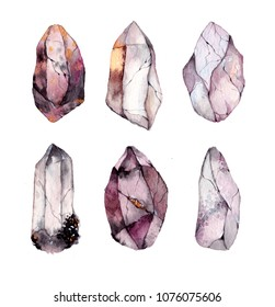 Watercolor crystals and stones