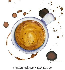 Watercolor cup of coffee espresso with stains and coffee marks around, top view. Hand drawn cup of hot delicious coffee. Tasty cappuccino cup, aromatic espresso, black strong turkish coffee watercolor
