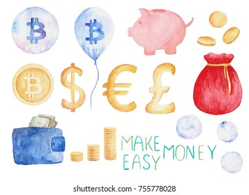 Watercolor currency set: bitcoin, dollar, euro, pound. Money concept. Illustration for design print or background