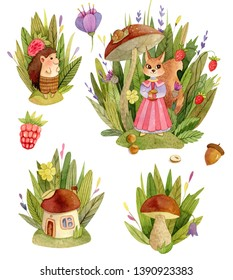 Watercolor cute animals character compositions - with trees, leaves, grasss, mushroom house, squirrel, hedgehog.