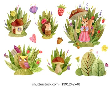 Watercolor cute animals character compositions - with trees, leaves, grasss, mushroom house, owl, squirrel, hedgehog.