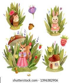 Watercolor cute animals character compositions - with trees, leaves, grasss, mushroom house, owl, squirrel, hedgehog, rabbiit.