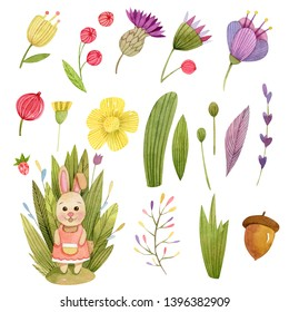 Watercolor cute animals character compositions - with trees, leaves, grasss, mushroom house, owl, rabbit (bunny)