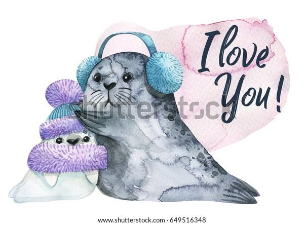 Postcards Watercolor Cute Animals