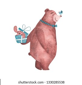 Watercolor cute bear congratulating with happy birthday with gift of dog in box isolated on white background. Baby shower birthday card for children decoration kid illustration