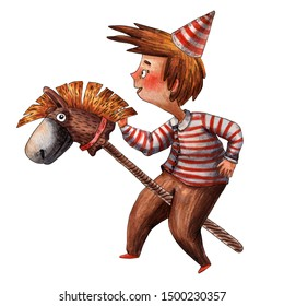 Watercolor cute boy illustration. Little rider on hobby horse. Funny pony toy. Children playing. Cute toddler. Caucasian boy on carnival cap. Hand drawn cartoon style. Red stripes cloth.
