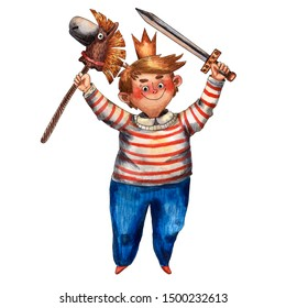 Watercolor cute boy illustration. Little rider with hobby horse. Funny fairy tale prince. Children playing. Fairy tale character. Caucasian boy. Cartoon style. Red stripes cloth, sword and crown.