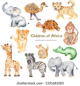 Watercolor cute cartoon African animals. Zebra, giraffe, crocodile, elephant, lion for cards, invitations, logos, baby shower, prints, travels.